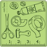 Craft Room Pattern - Mini Cling Stamps