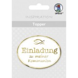 Topper - Einladung Kommunion gold