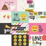 Emoji Love - 4x6 horizontal journaling Elements 30,5x30,5 cm