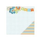 Hello Baby - Banner On Blue Grid/Blue Multi Stripe